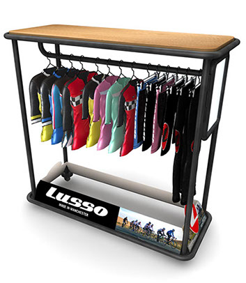 Raleigh Lusso Clothing Display with garments